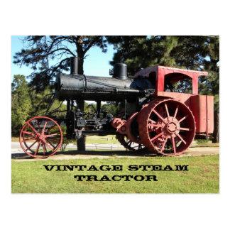 ヴィンテージの蒸気のトラクター-色の… ポストカード