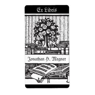 ヴィンテージの蔵書票音楽、木、本 ラベル