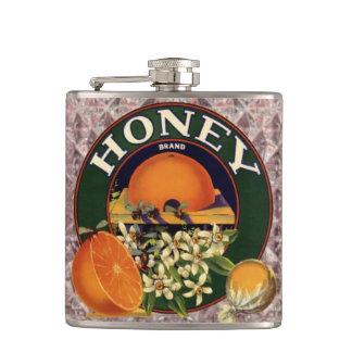 ヴィンテージの蜂蜜のラベルのオレンジの蜂の模造のなガラスフラスコ フラスク