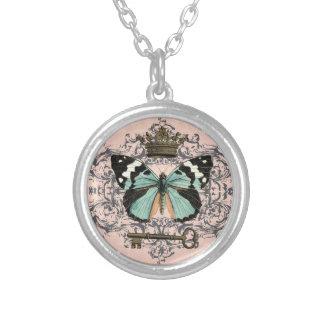 ヴィンテージの蝶および王冠の魅力のネックレス シルバープレートネックレス