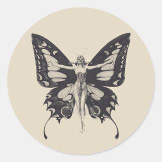 ヴィンテージの蝶女性の円形のステッカー ラウンドシール