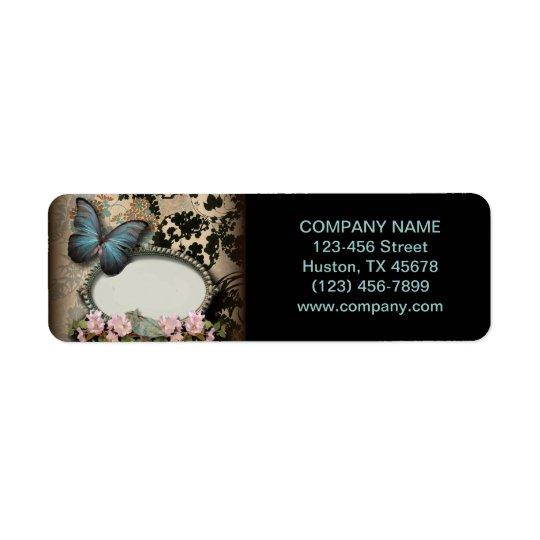 ヴィンテージの蝶花のガーリーな美しいのスパのファッション 返信用宛名ラベル