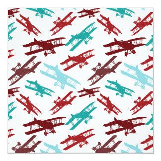 ヴィンテージの複葉機パターン飛行機の飛行士のギフト カード
