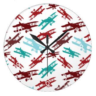 ヴィンテージの複葉機パターン飛行機の飛行士のギフト ラージ壁時計