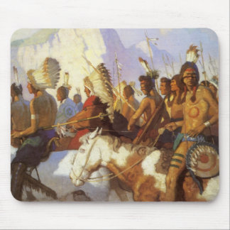 ヴィンテージの西部の芸術、NC Wyethによるインド戦争のパーティー マウスパッド