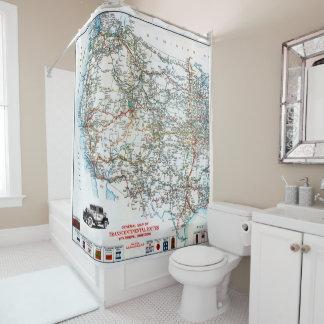ヴィンテージの西部米国の旧式なハイウェーの地図 シャワーカーテン