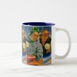 ヴィンテージの親友; エレガントで、スタイリッシュな女性! ツートーンマグカップ