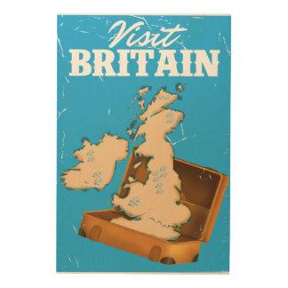 ヴィンテージの訪問のイギリス旅行ポスター ウッドウォールアート