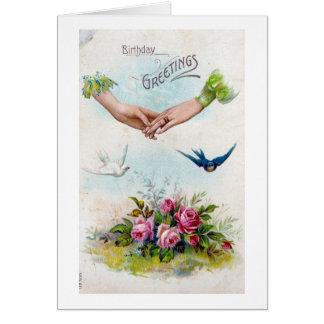 ヴィンテージの誕生日の挨拶の手および鳥 グリーティングカード