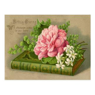 ヴィンテージの誕生日の挨拶は上品な花柄を望みます ポストカード
