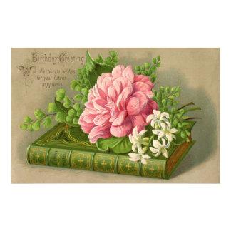 ヴィンテージの誕生日の挨拶は上品な花柄を望みます 便箋