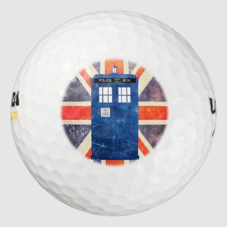 ヴィンテージの警察は箱の英国国旗の旗に電話をかけます ゴルフボール