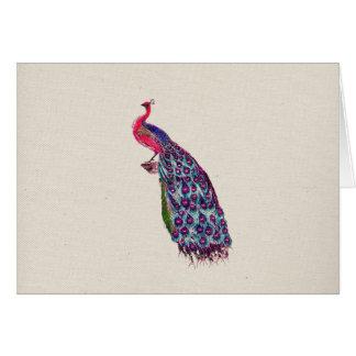 ヴィンテージの豪奢な孔雀の明るくガーリーなピンクのティール(緑がかった色)の鳥 カード