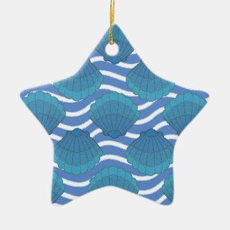 ヴィンテージの貝殻および波パターン セラミックオーナメント