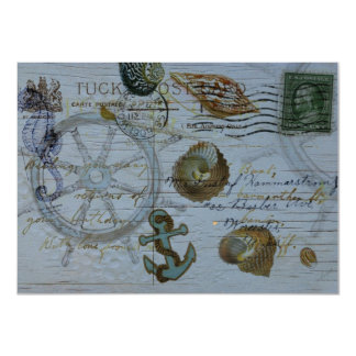 ヴィンテージの貝殻のビーチ結婚式のブライダルシャワー カード
