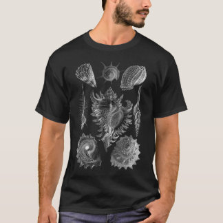 ヴィンテージの貝殻の黒 Tシャツ