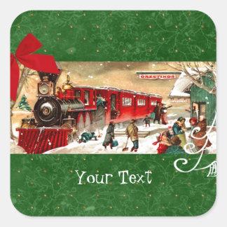 ヴィンテージの赤いクリスマスの列車 スクエアシール