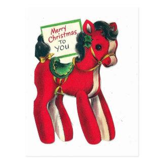 ヴィンテージの赤いクリスマスの子馬 ポストカード