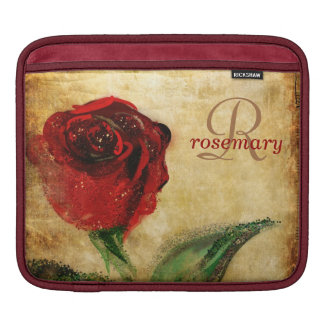ヴィンテージの赤いバラのガーリーなモノグラム iPadスリーブ