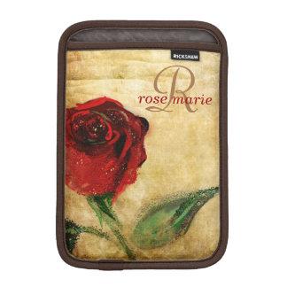ヴィンテージの赤いバラのガーリーなモノグラム iPad MINIスリーブ