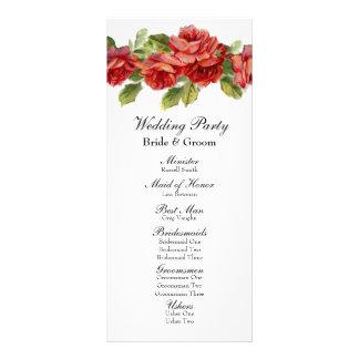 ヴィンテージの赤いバラの結婚式プログラム ラックカード
