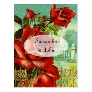 ヴィンテージの赤いバラ ポストカード