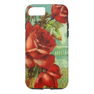 ヴィンテージの赤いバラ iPhone 7ケース
