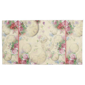 ヴィンテージの赤いピンクのバラのクリーム色の文字盤の寝具 枕カバー