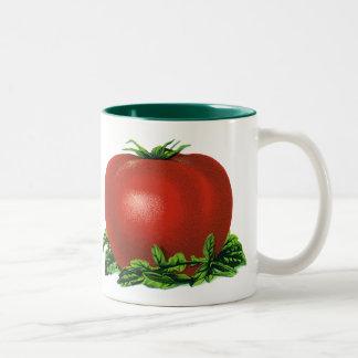ヴィンテージの赤い熟したトマト、野菜およびフルーツ ツートーンマグカップ