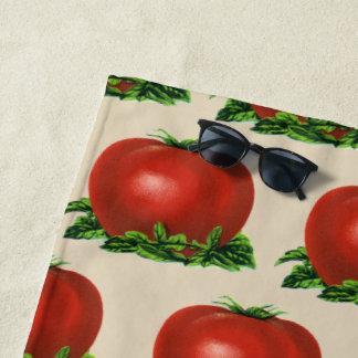 ヴィンテージの赤い熟したトマト、野菜およびフルーツ ビーチタオル
