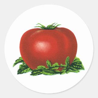 ヴィンテージの赤い熟したトマト、野菜およびフルーツ ラウンドシール