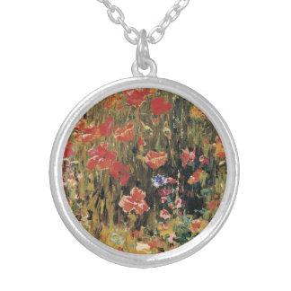 ヴィンテージの赤い花、ロバートVonnoh著ケシ シルバープレートネックレス