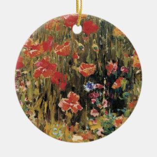 ヴィンテージの赤い花、ロバートVonnoh著ケシ セラミックオーナメント
