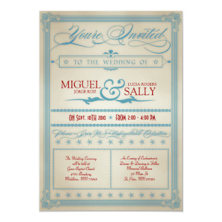 ヴィンテージの赤く白く及び青の結婚式招待状 カード