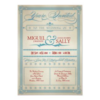 ヴィンテージの赤く白く及び青の結婚式招待状 12.7 X 17.8 インビテーションカード