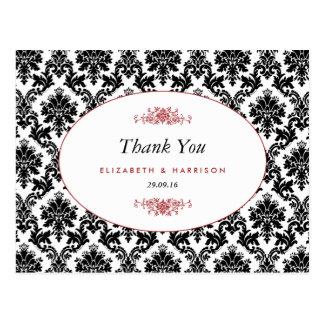 ヴィンテージの赤く黒く及び白いダマスク織の結婚式は感謝していしています ポストカード