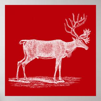 ヴィンテージの赤と白のトナカイのクリスマス ポスター