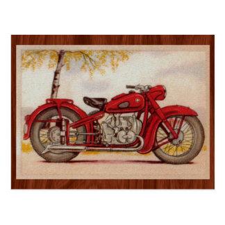 ヴィンテージの赤のオートバイ ポストカード