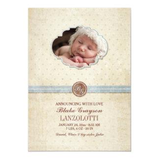 ヴィンテージの赤ん坊の写真の誕生の発表 12.7 X 17.8 インビテーションカード