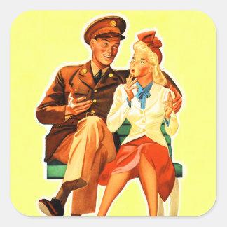 ヴィンテージの軍のはんだのロマンスのロマンチックなカップル スクエアシール