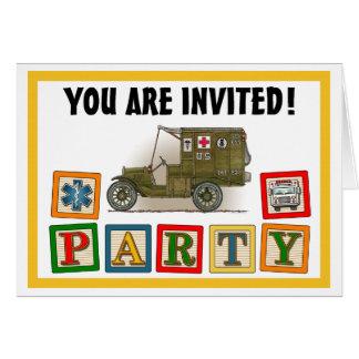 ヴィンテージの軍の救急車のパーティの招待状 カード