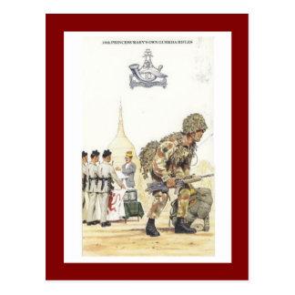 ヴィンテージの軍服、第10グルカ族のライフル ポストカード