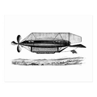 ヴィンテージの軟式小型飛行船の操縦出来るビクトリアンな飛行船 ポストカード