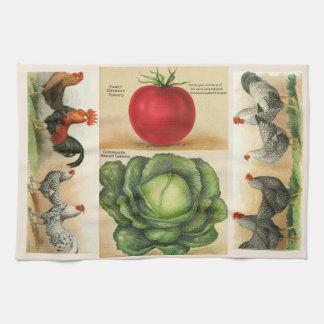 ヴィンテージの農場の絵: 居心地のよい国スタイル キッチンタオル