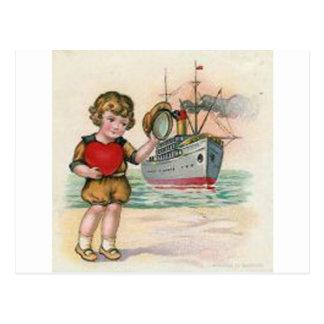 ヴィンテージの遊航船のバレンタイン ポストカード