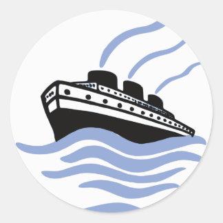 ヴィンテージの遠洋定期船の芸術 ラウンドシール