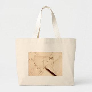 ヴィンテージの郵便はがき ラージトートバッグ