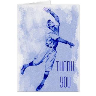 ヴィンテージの野球の外野手はメッセージカード感謝していしています カード