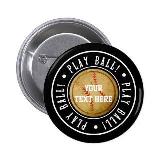 ヴィンテージの野球の黒の演劇の球のパーティーPinボタン 5.7cm 丸型バッジ
