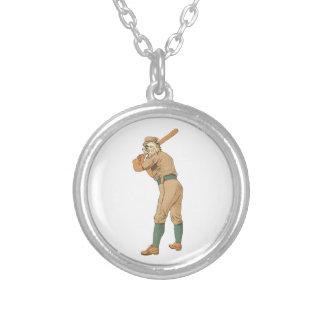 ヴィンテージの野球猫 シルバープレートネックレス